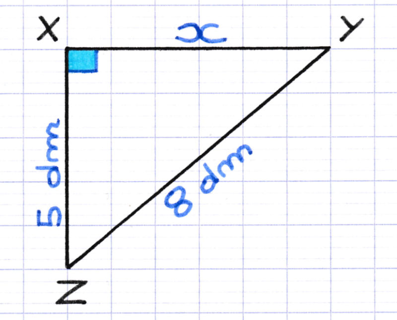 Exercice pour calculer la longueur d'un côté d'un triangle rectangle